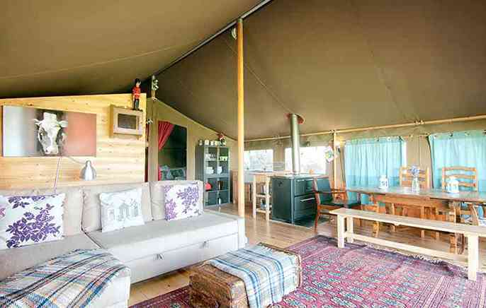 Safari tent living room