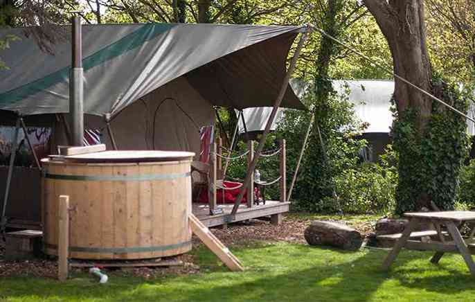 Safari tent hot tub