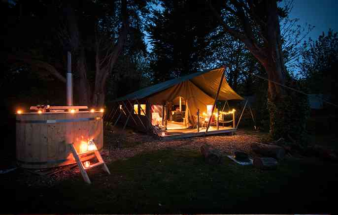 Safari tent at night