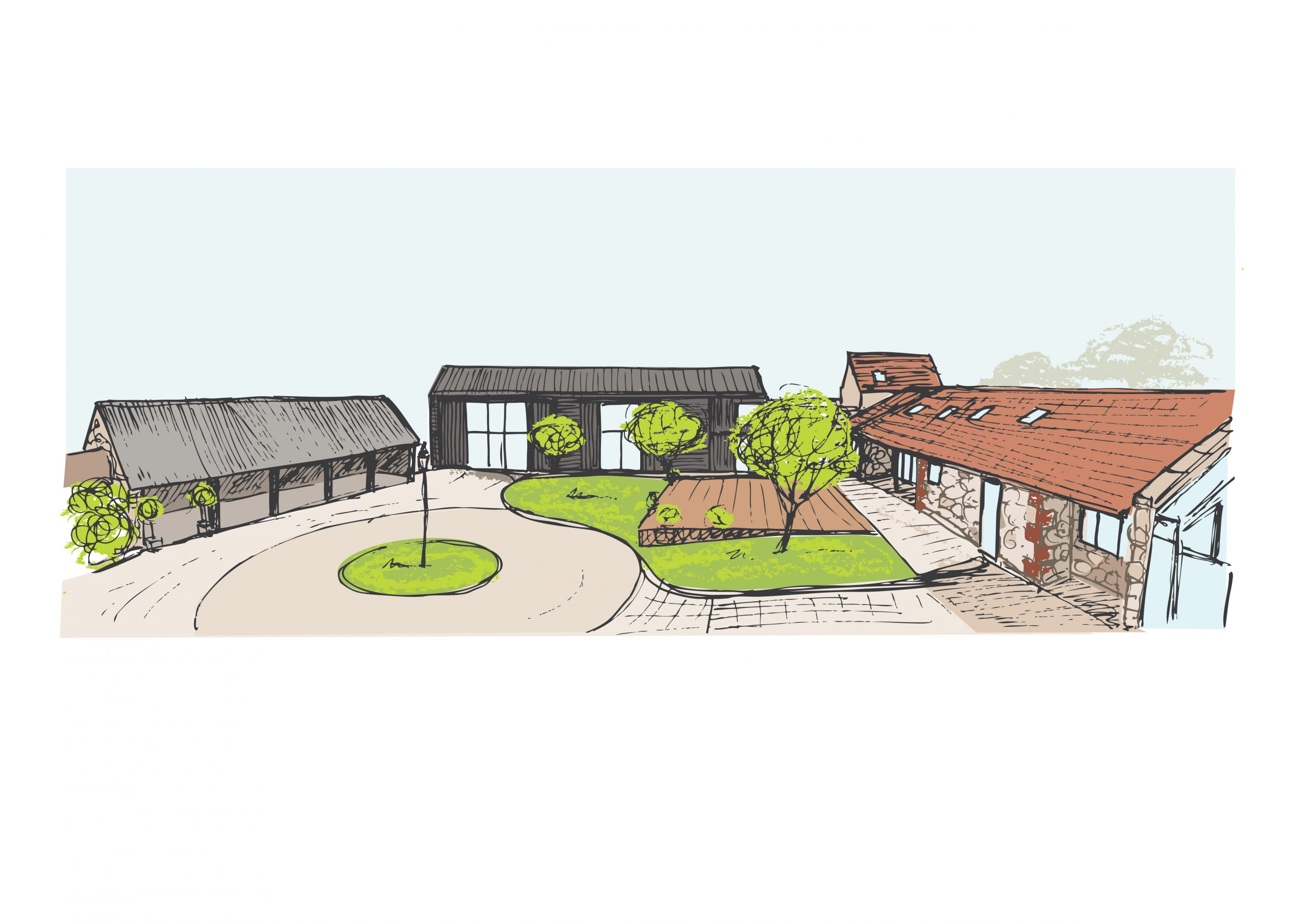 Artists impression of new large barn off courtyard at East Afton Manor