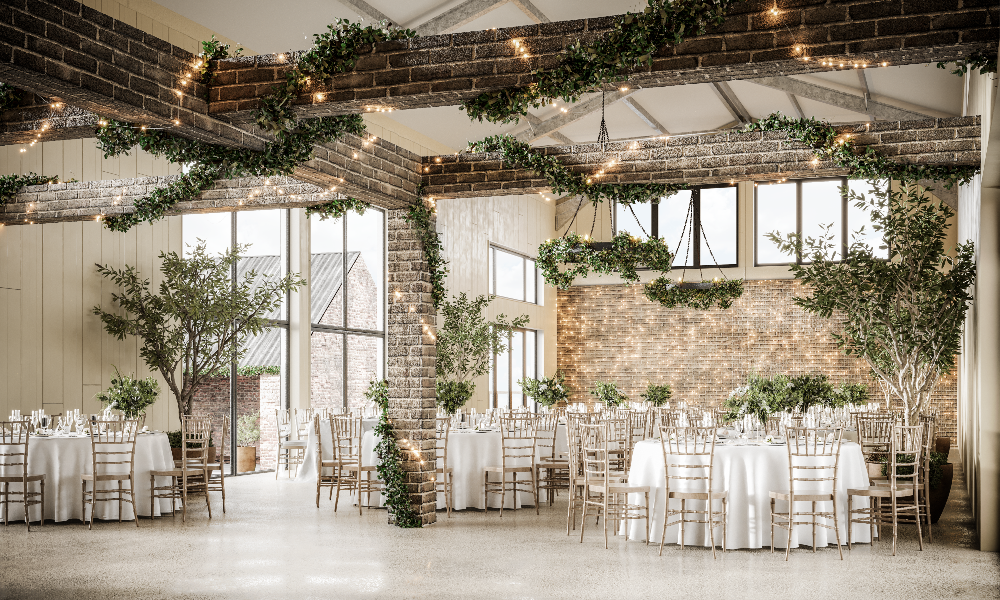 Interior image of new events barn at East Afton Farmhouse
